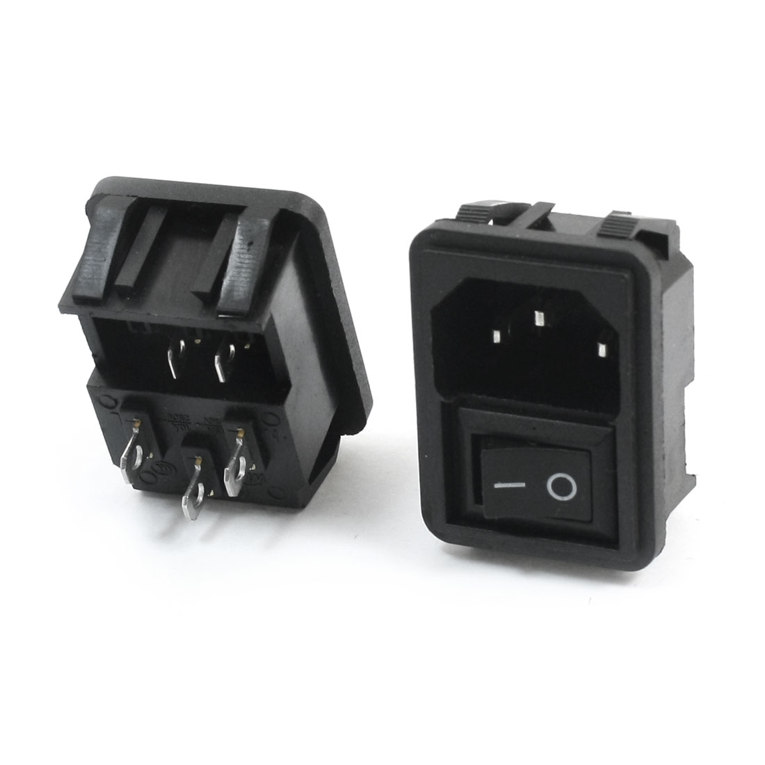 2Pcs Black Power Connector AC250V 10A + Rocker Switch