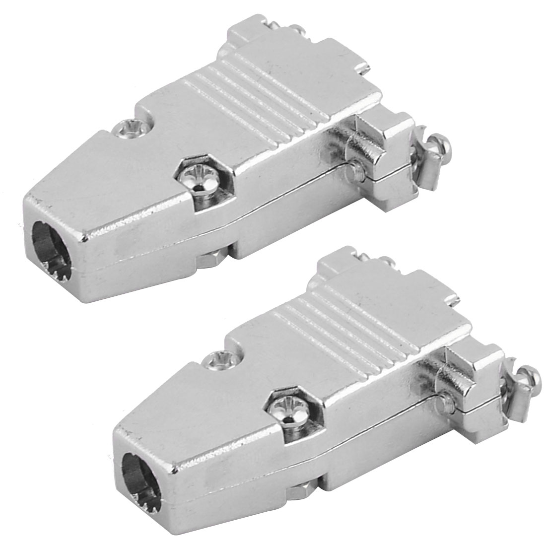 2Pcs Aluminium DB9 D-SUB Male/Female Connector Housing Backshell Shell Cover Hood Silver Tone