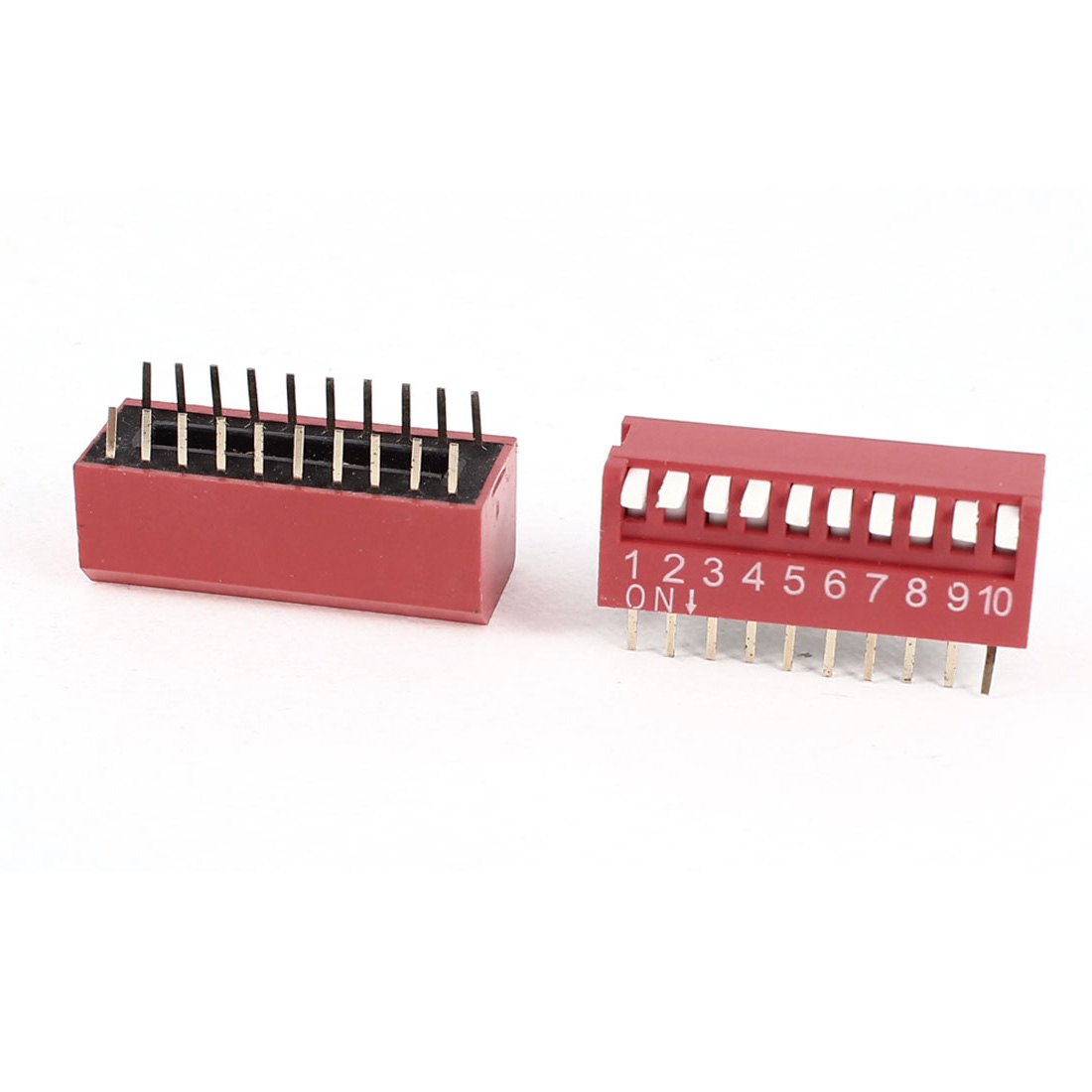 2Pcs 2.54mm Pitch 2-Row 10-Bit 20 Pin STSP PCB Through Hole Mounting Piano Key DIP Switches Red