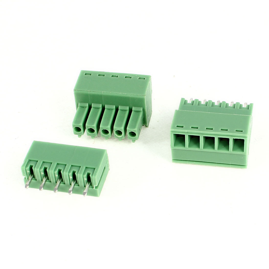 2Pcs 2EDG3.5-5P 3.5mm Pitch 5 Straight Pins Female and Male Wire Pluggable Terminal Barrier Strip Block Connector