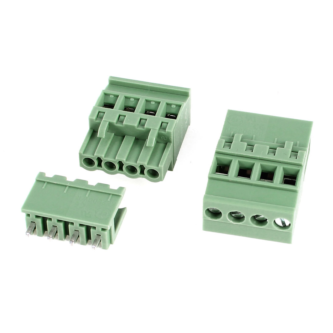 2Pcs 2EDG5.08-4P 5.08mm Pitch 4 Straight Pins Female and Male Wire Pluggable Terminal Barrier Strip Block Connector 300V 10A