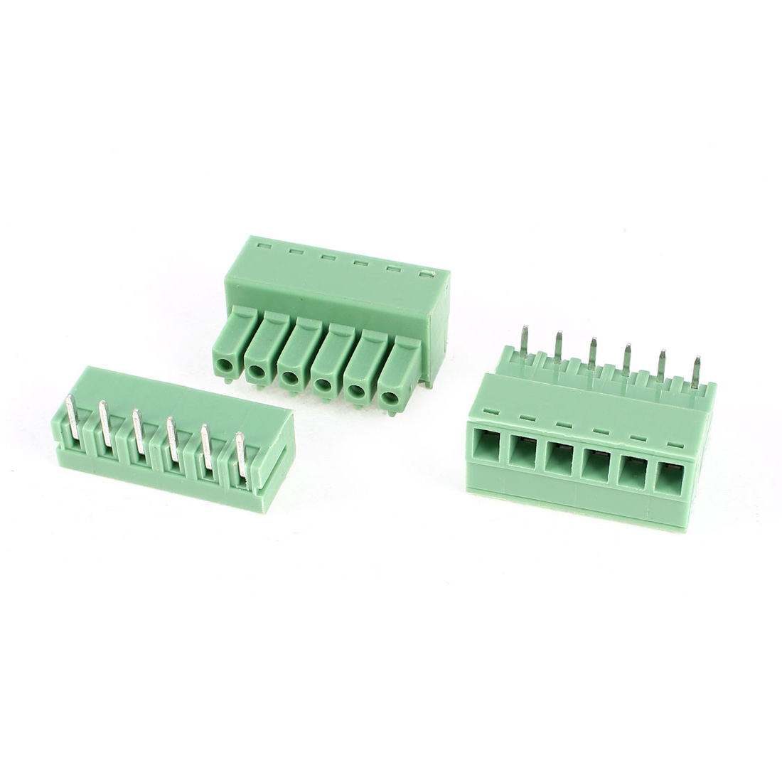 2Pcs 2EDG3.81-6P 3.81mm Pitch 6 Bending Pins Female and Male Wire Pluggable Terminal Barrier Strip Block Connector 300V 8A