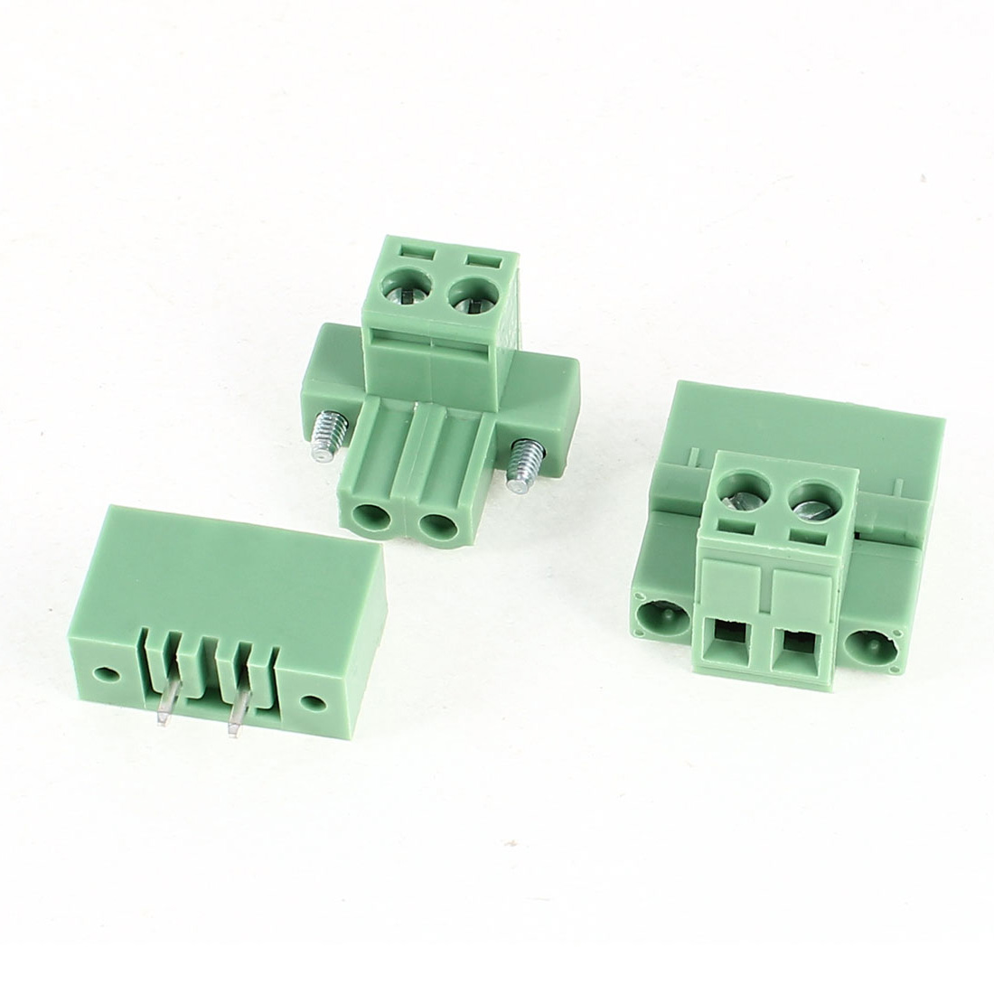 2Pcs 2EDG5.08-2P 5.08mm Pitch 2 Straight Pins Female and Male Wire Pluggable Flanged Terminal Barrier Strip Block Connector 300V 10A