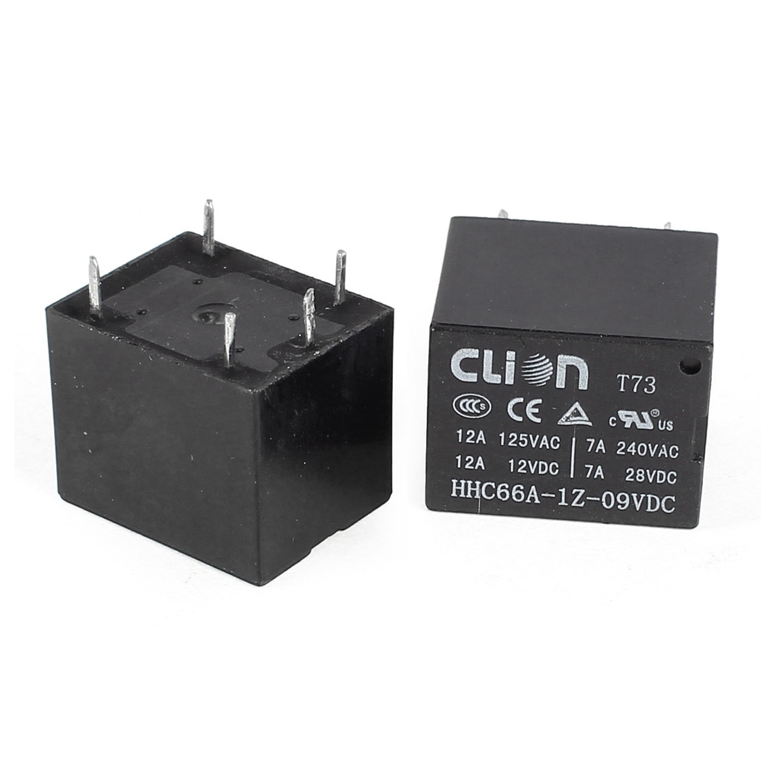 2Pcs DC9V Coil Voltage SPDT 1NO 1NC 5Pin Square Black Plastic Electromagnetic Power Relay HHC66A-1Z-09VDC