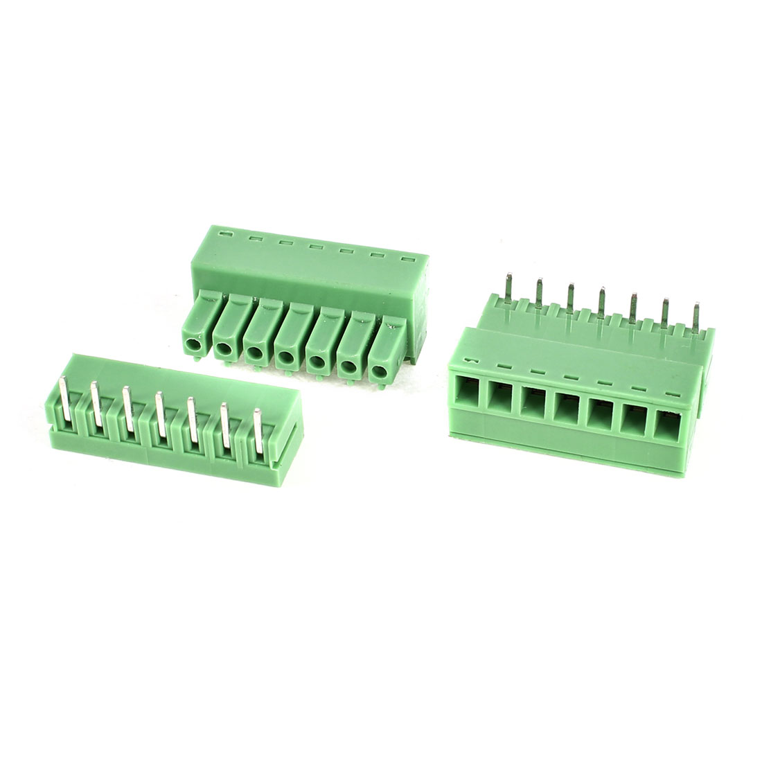 2Pcs 2EDG3.81-7P 3.81mm Pitch 7 Bending Pins Female and Male Wire Pluggable Terminal Barrier Strip Block Connector 300V 8A