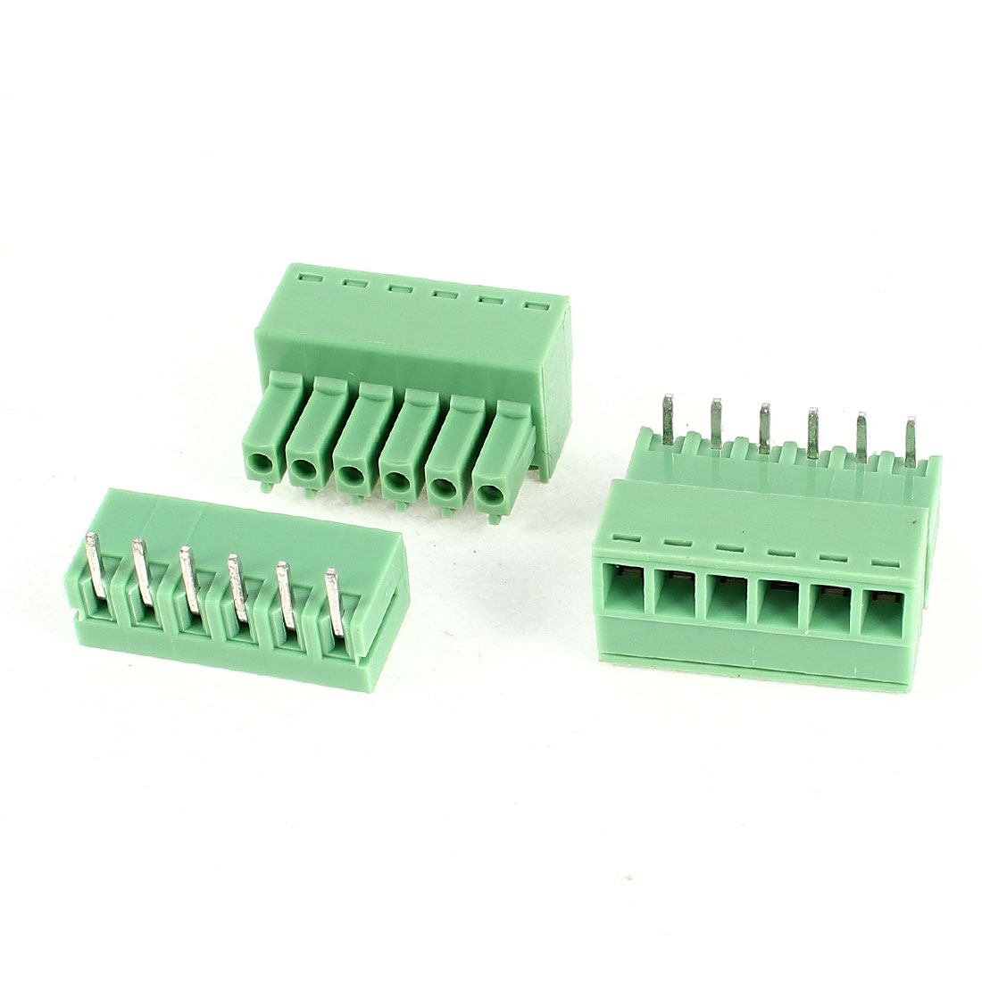2Pcs 2EDG3.5-6P 3.5mm Pitch 6 Bending Pins Female and Male Wire Pluggable Terminal Barrier Strip Block Connector 300V 8A