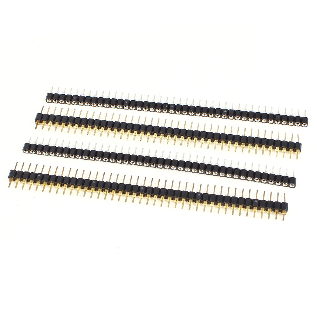 2 Sets 40 Way 40Pin Single Row Straight Pin Header Male + Female Connector