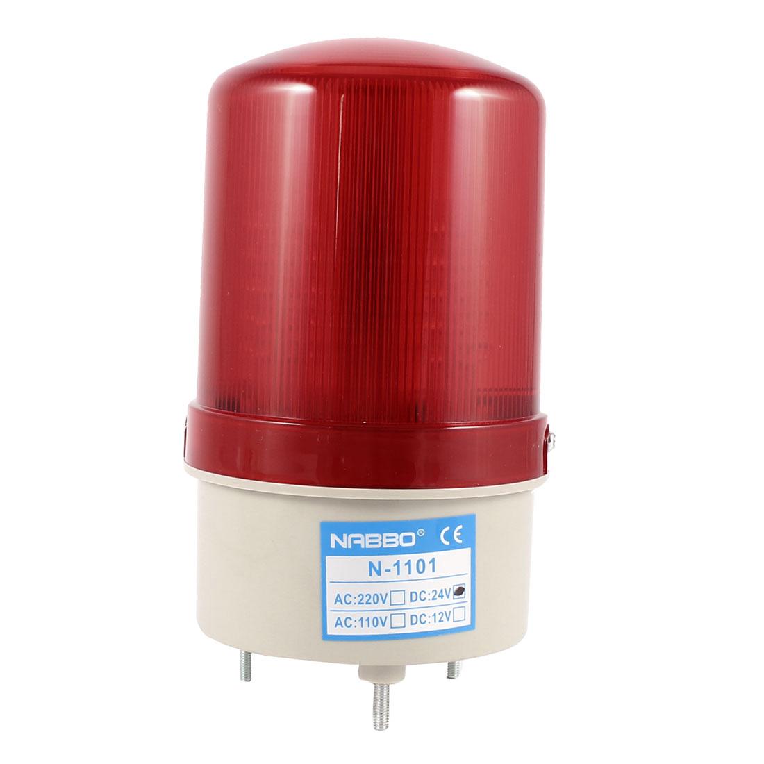 Industrial DC 24V Red LED Blinking Rotating Warning Light Bulb Signal Tower Lamp