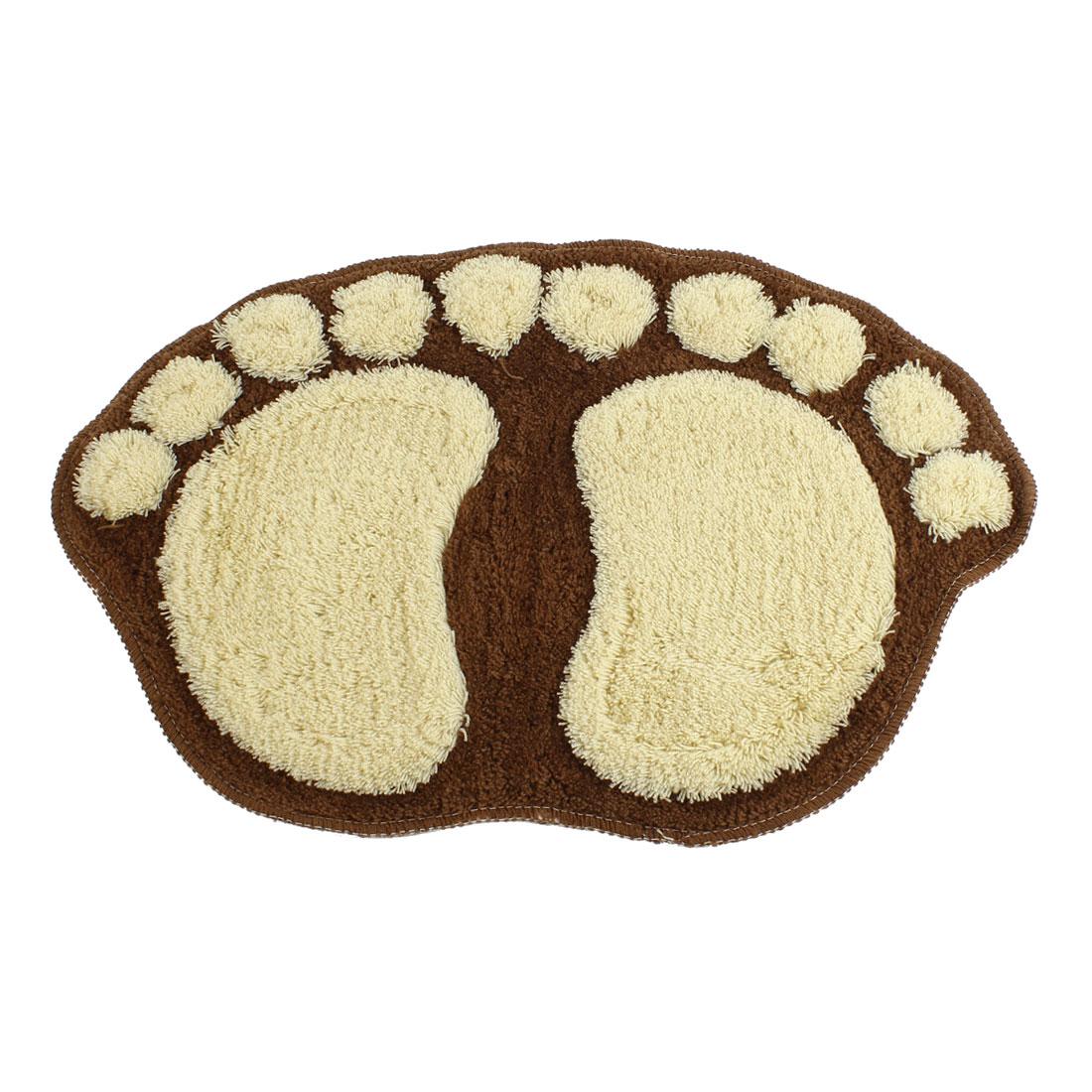 Microfiber Chenille Khaki Footprint Shape Floor Mat Area Carpet Coffee Color