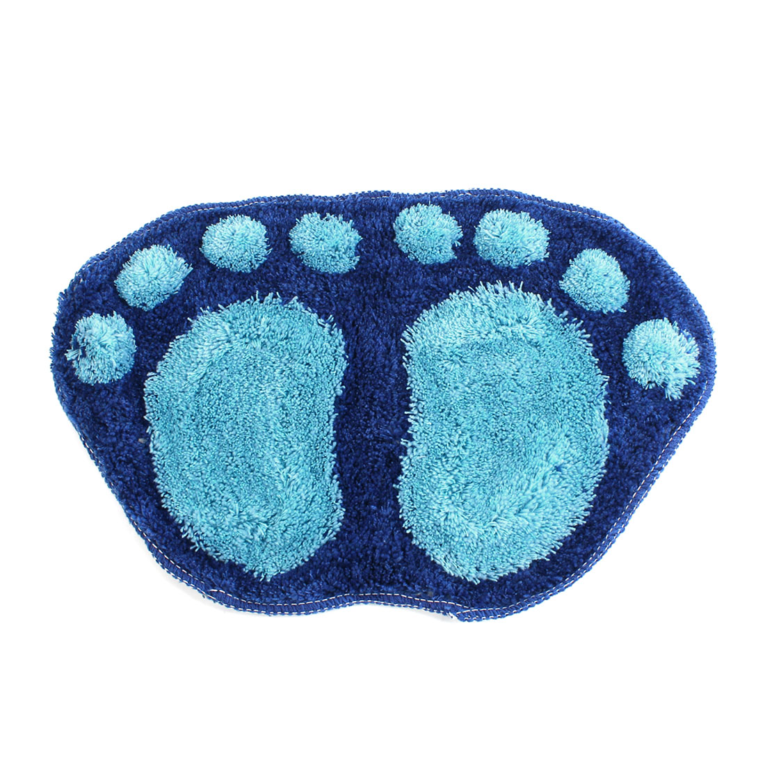 Bedroom Blue Microfiber Chenille Foot Pattern Shaped Floor Mat Area Rug Carpet