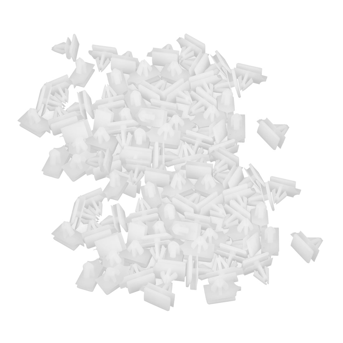 100 Pcs White Plastic Rivets Fastener 11 x 7mm Fit Hole for Car Bumper Fender