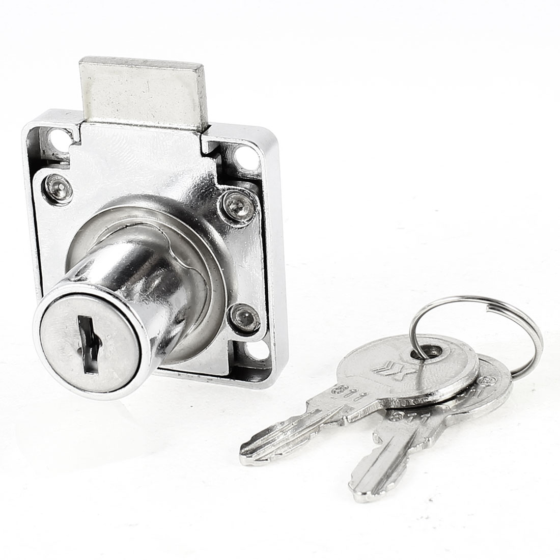 Silver Tone Security Hardware Metal Deadbolt Drawer Locker Lock w Keys