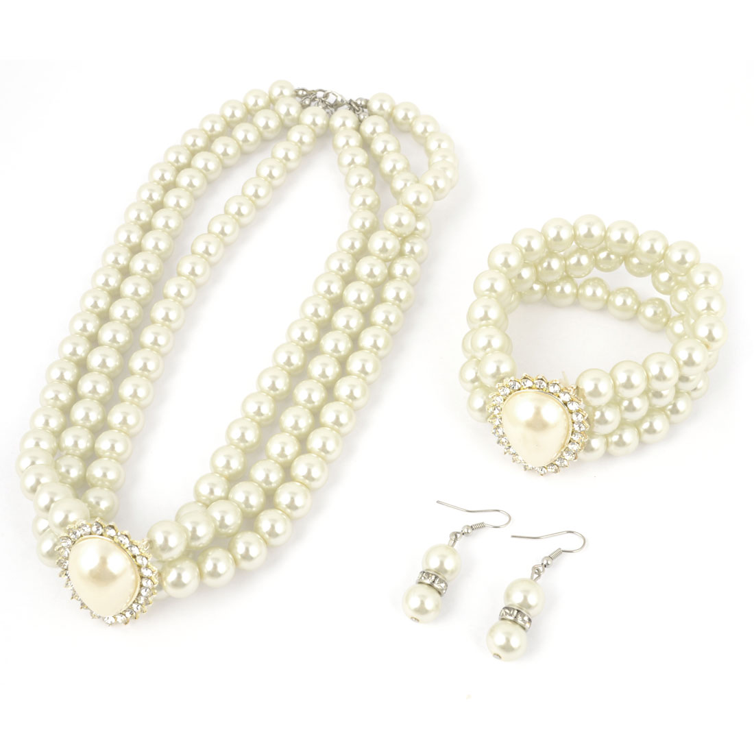 3 in 1 Faux Pearl Three Strand Beaded Pendant Choker Necklace Bracelet Eardrop Set