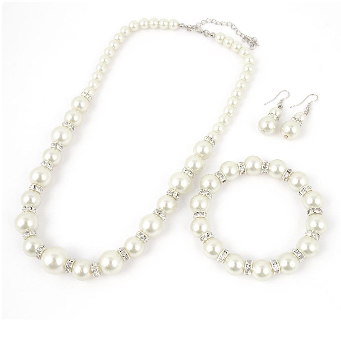 3 in 1 Bride Rhinestone Linked White Pearls Necklace Earrings Bracelet