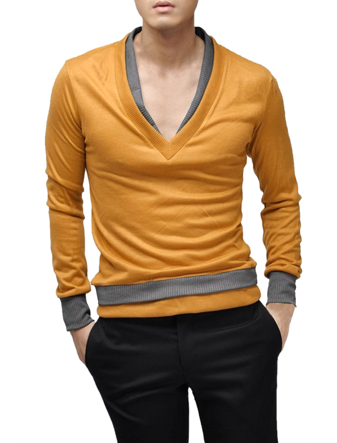 Men Double Layered V Neck Long Sleeve Leisure Stretch Top Dark Yellow S