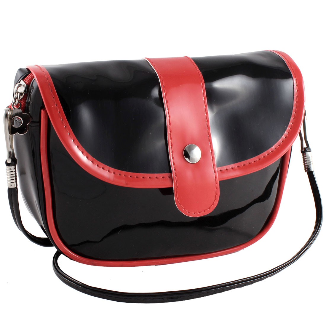 Women Zipper Closure Patent Leather Shoulder Bag Satchel Pouch Black