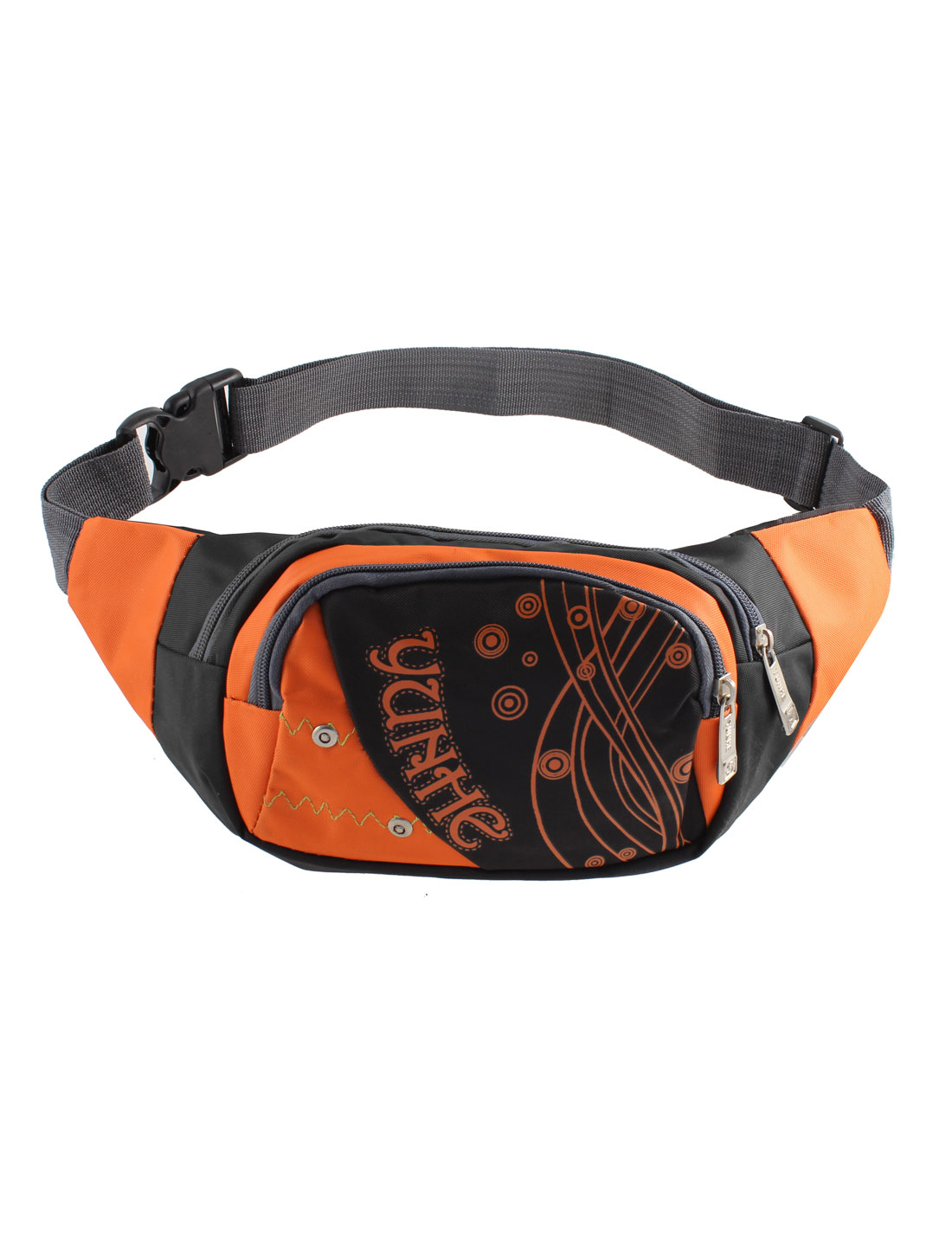 Men Zipper Closure Dots Print Waist Pack Sports Bag Pouch Black Orange