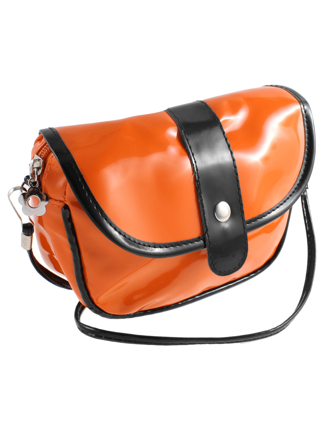 Press Button Dual Cards Pockets Patent Leather Shoulder Bag Satchel Orange