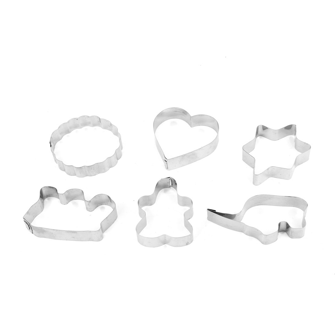 6 Pcs Home DIY Cookie Biscuit Baking Flower Heart Shape Metal Cutter Mold