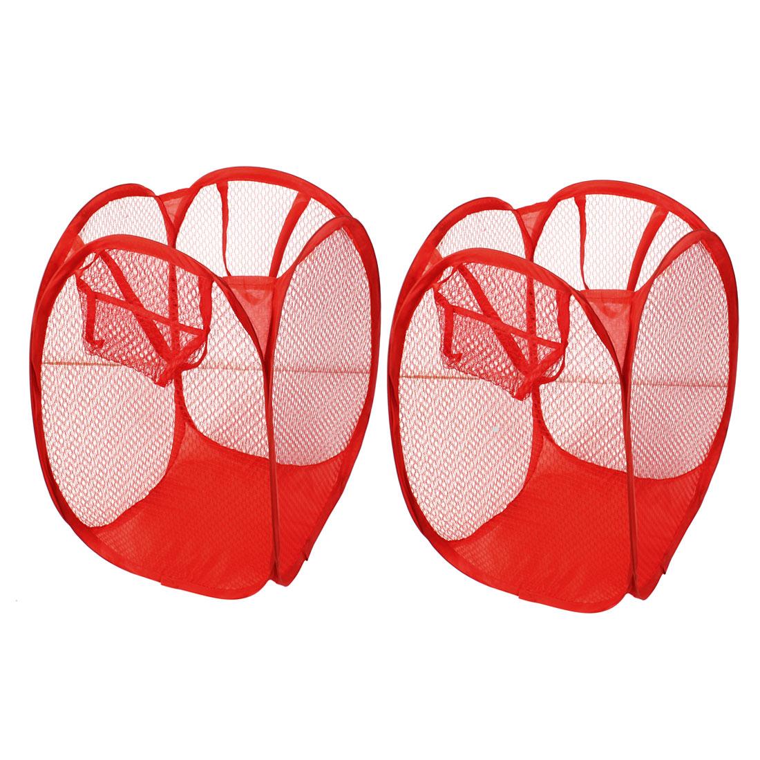 2 Pcs Home Foldable Mesh Nylon Underwear Clothing Washing Bag Red