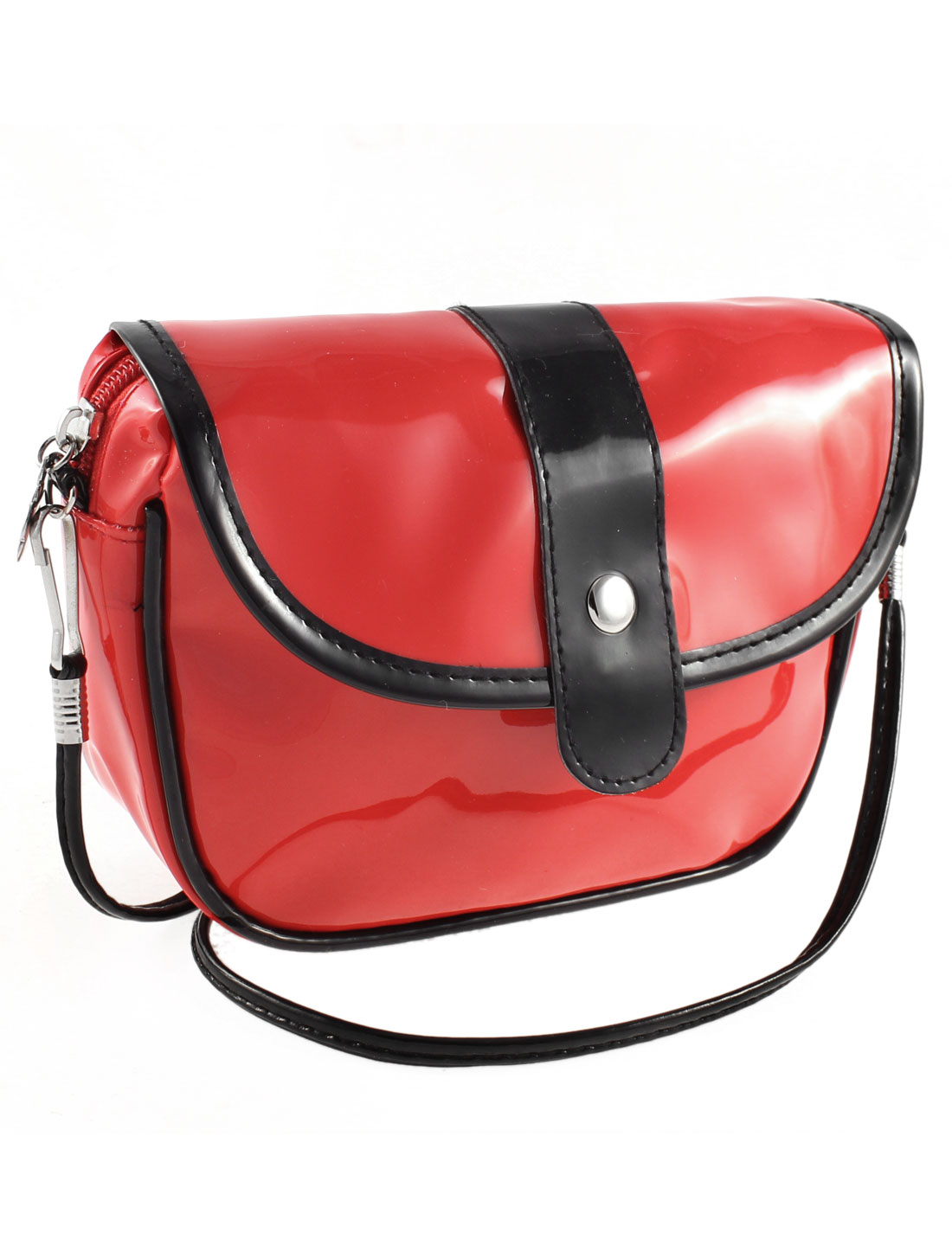 Women Zippered Single Compartment Patent Leather Shoulder Bag Red