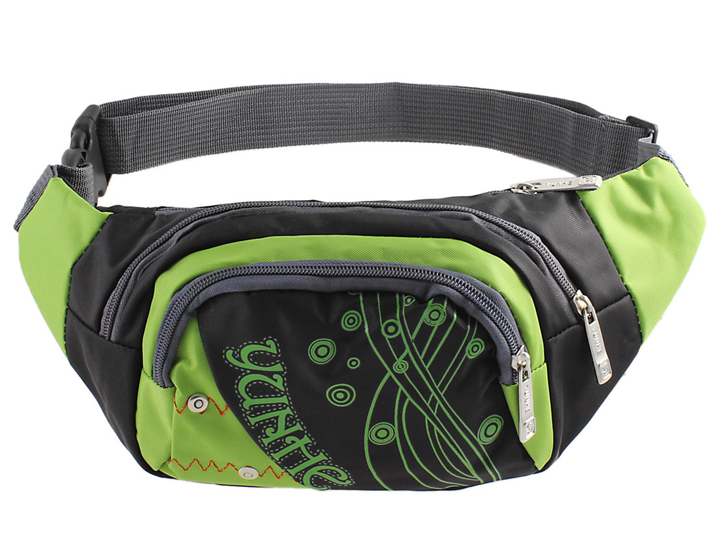 Men Zipper Closure Dots Print Waist Pack Sports Bag Pouch Black Green