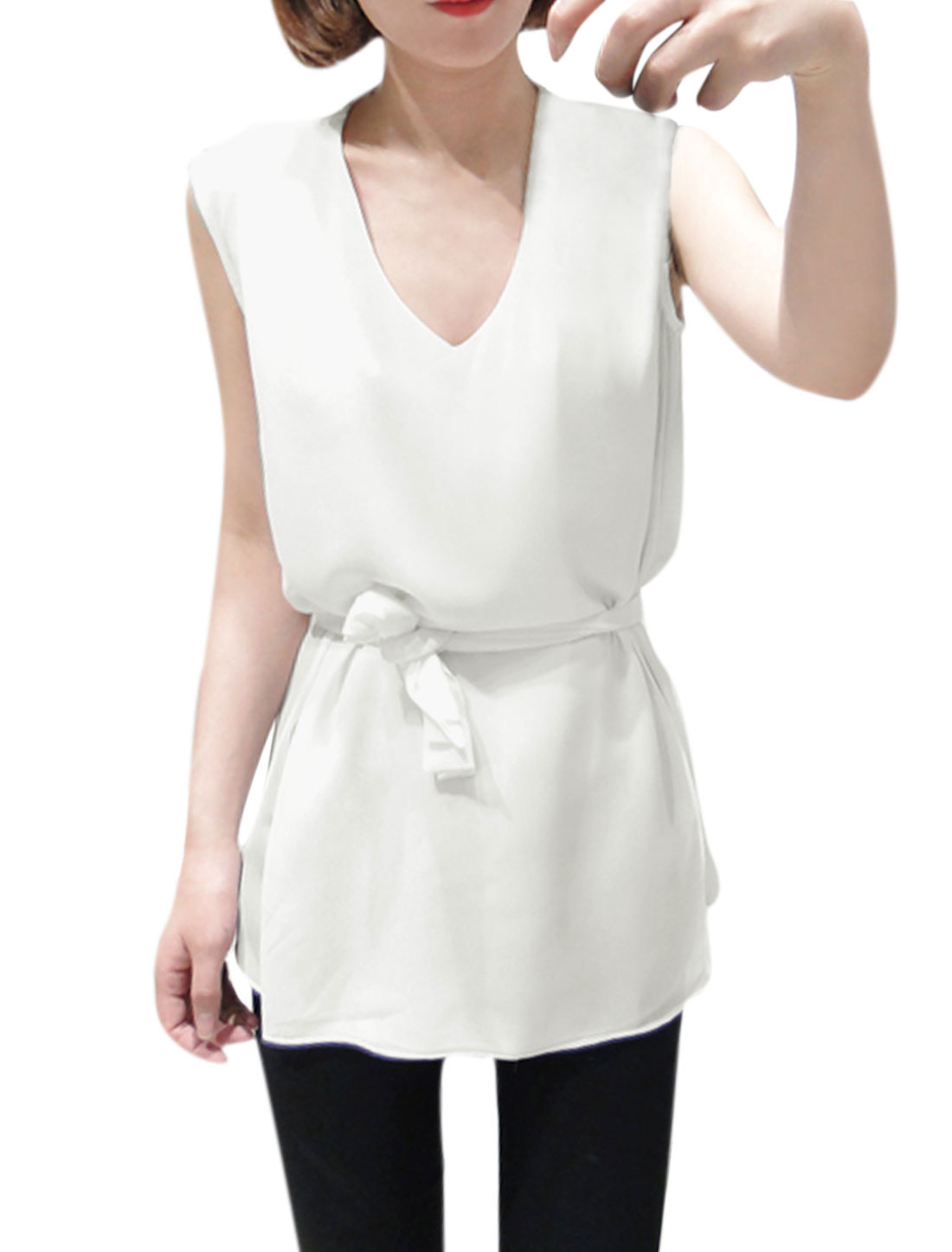 Lady Pullover Tiered Cutting Blouse w Self-Tie Waist Strap White XS