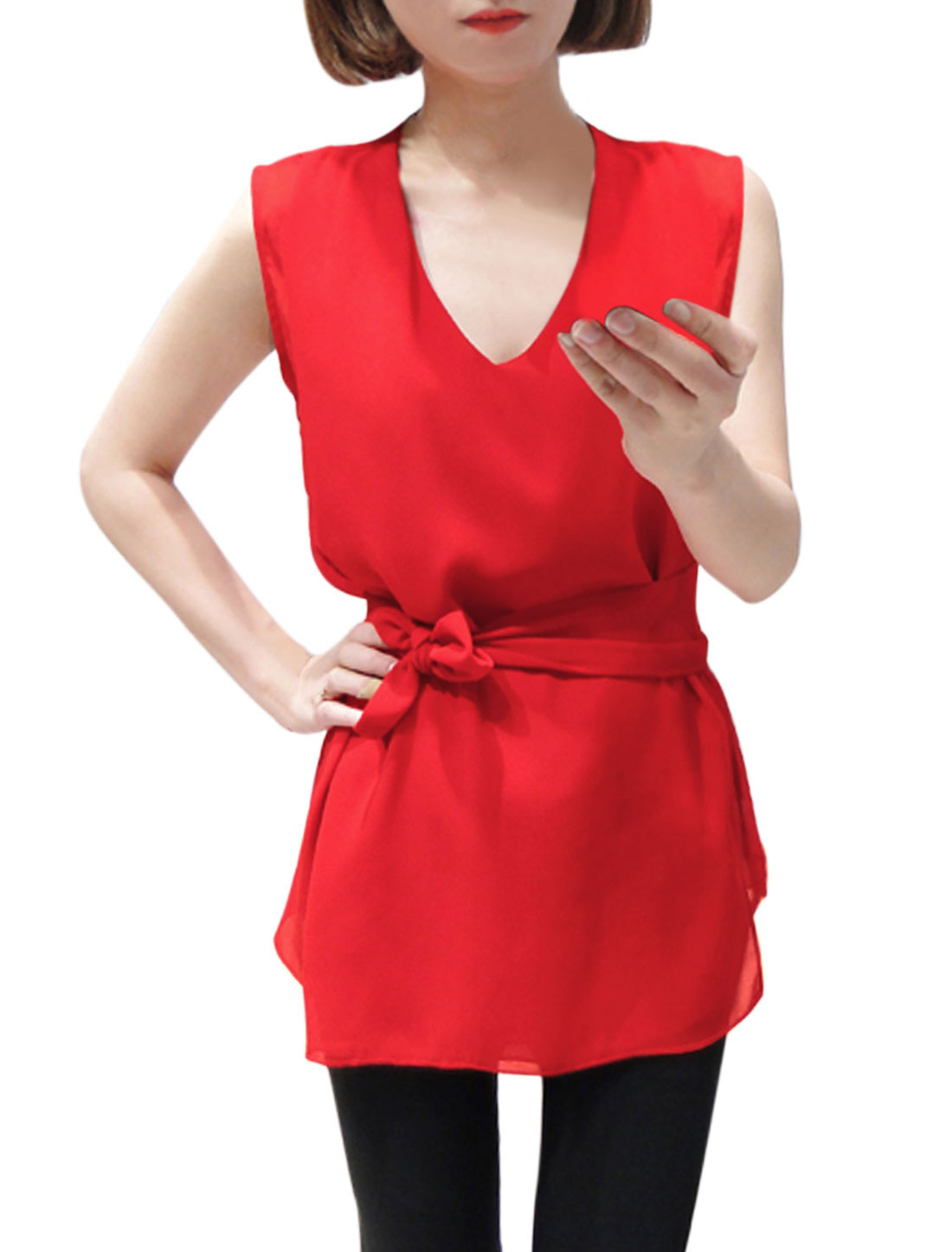 Lady Casual Deep V Neck Blouse w Self-Tie Waist Strap Red XS