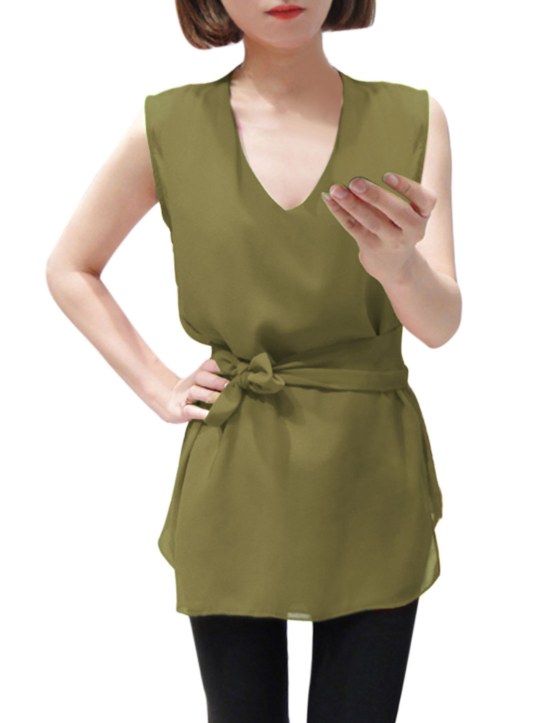 Lady Stylish Chiffon Top w Self-Tie Waist Strap Olive Green XS