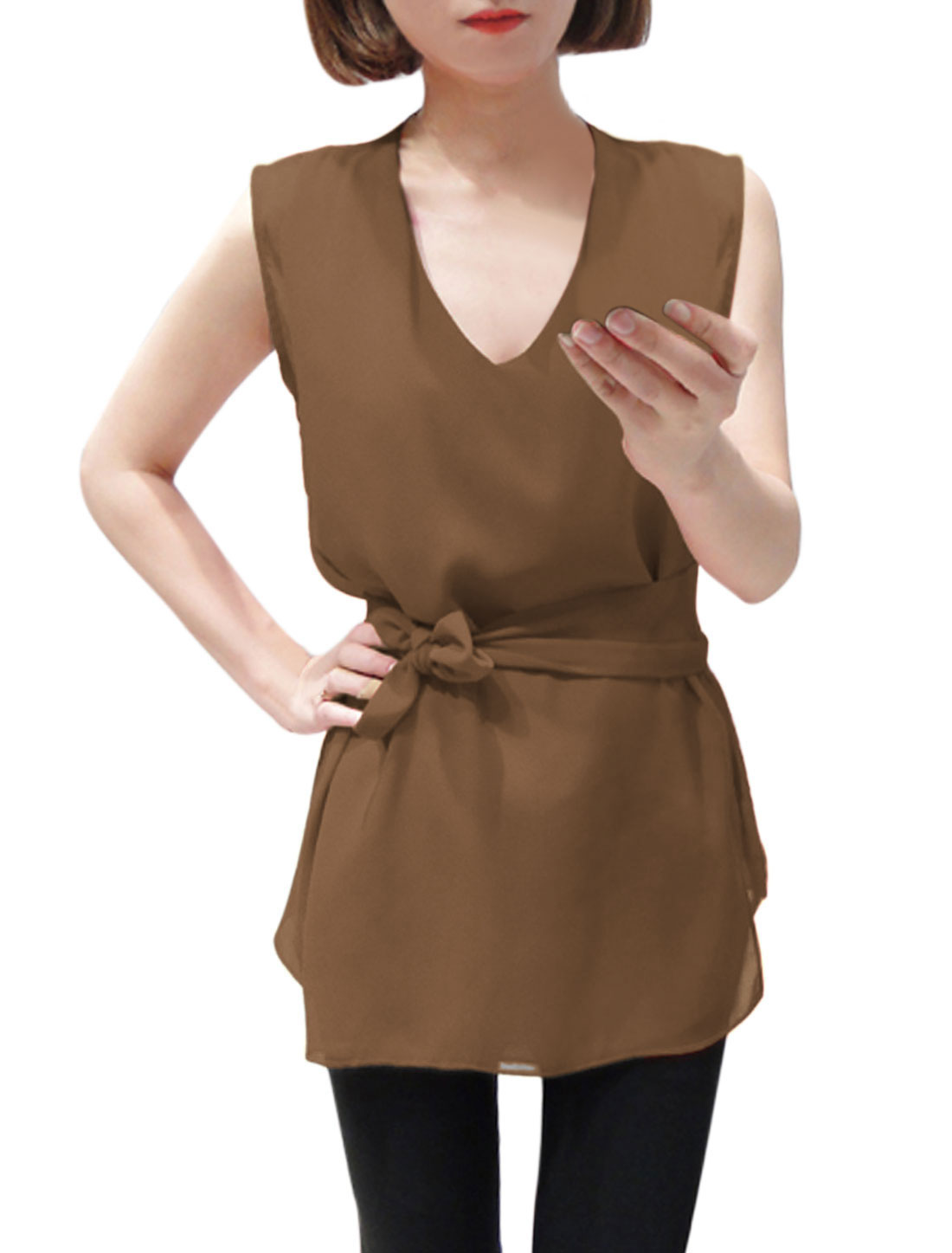 Lady Deep V Neck Elegant Blouse w Self-Tie Waist Strap Brown XS
