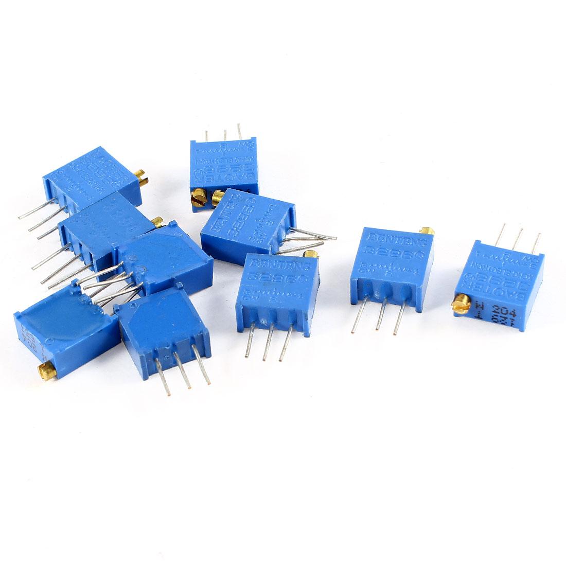 10Pcs 3296W-204 200K ohm 3 Pins High Precision Adjustable Resistor Trim Pot Potentiometer Trimmer