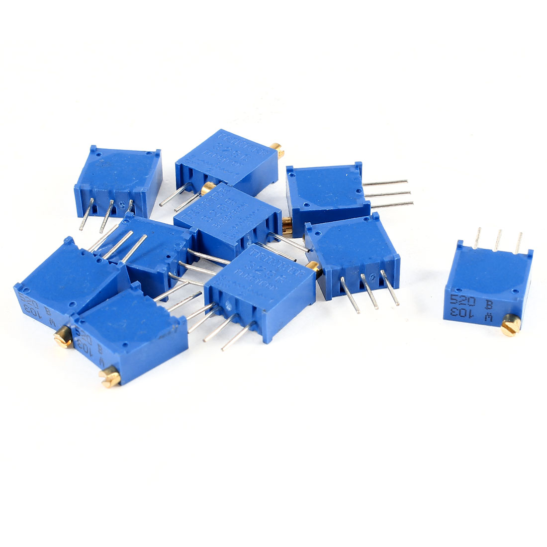 10Pcs 3296W-103 10K ohm 3 Pins High Precision Adjustable Resistor Trim Pot Potentiometer Trimmer