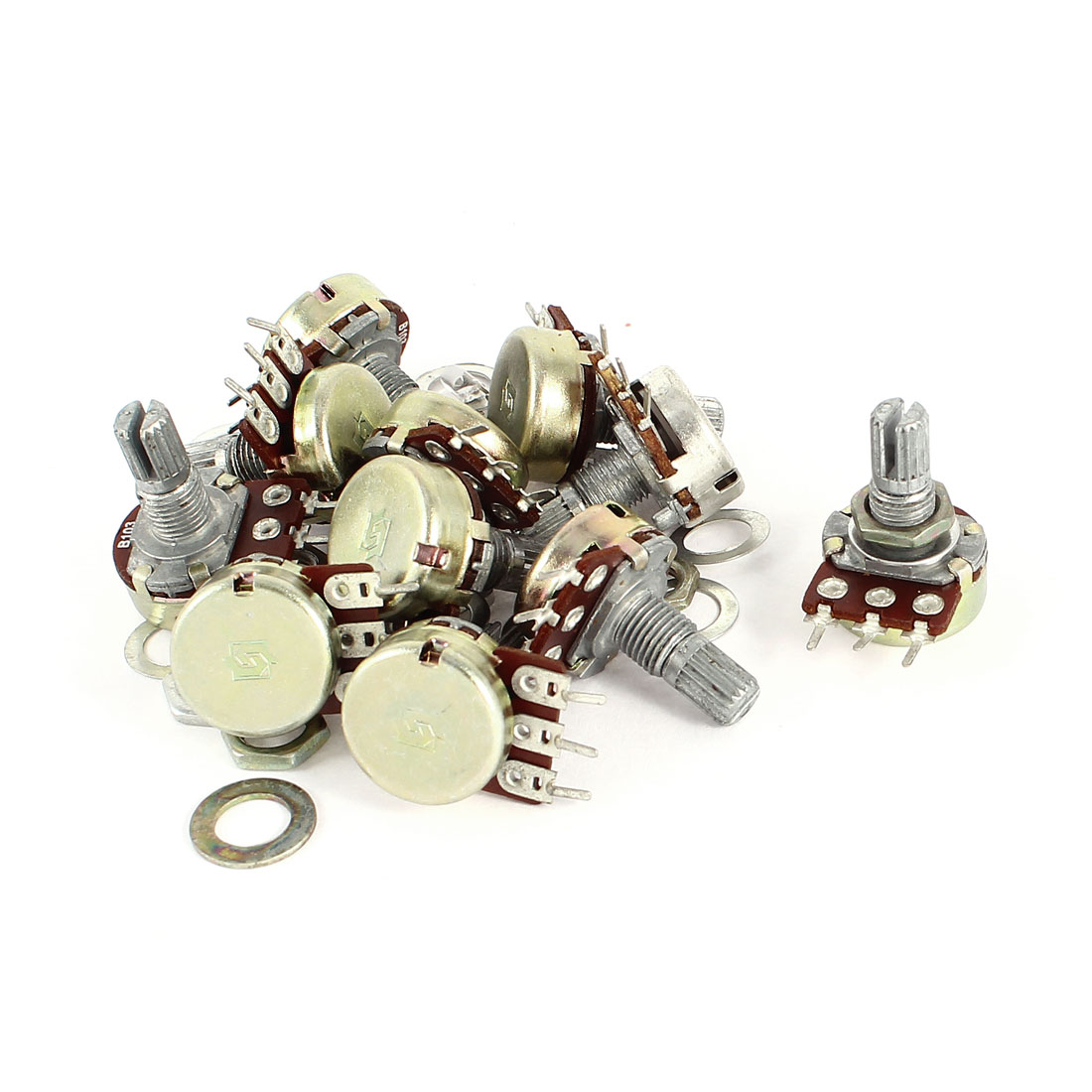 10Pcs B10K 10K Ohm 15mm Knurled Shaft Top Adjustment 3 Terminals Single Linear Rotary Taper Potentiometer Panel Pot