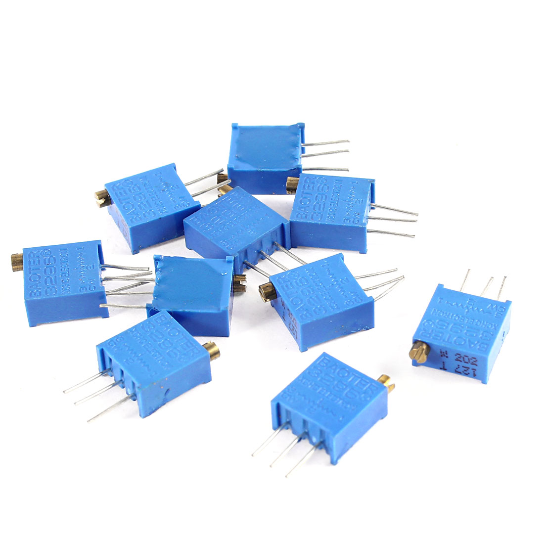 10Pcs 3296W-202 2K ohm 3 Pins High Precision Adjustable Resistor Trim Pot Potentiometer Trimmer