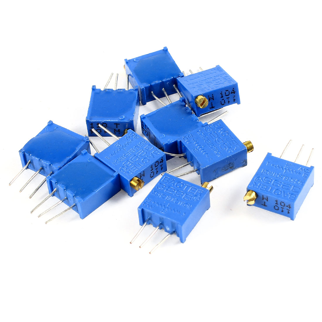 10Pcs 3296W-104 100K ohm 3 Pins High Precision Adjustable Resistor Trim Pot Potentiometer Trimmer