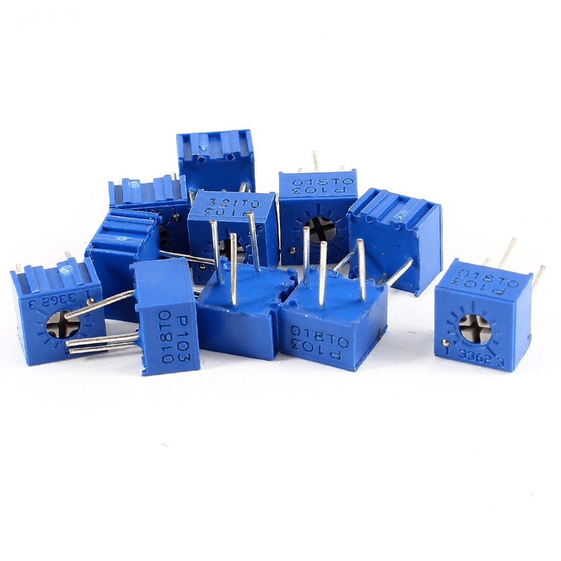 10Pcs 3362W-103 10K ohm 3 Pins High Precision Adjustable Resistor Trim Pot Potentiometer Trimmer