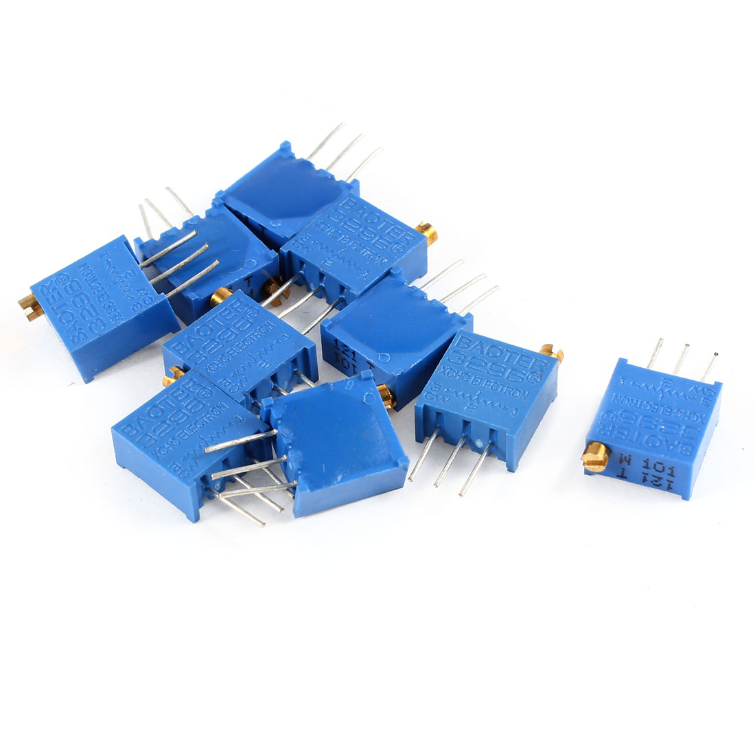 10Pcs 3296W-101 100 ohm 3 Pins High Precision Adjustable Resistor Trim Pot Potentiometer Trimmer