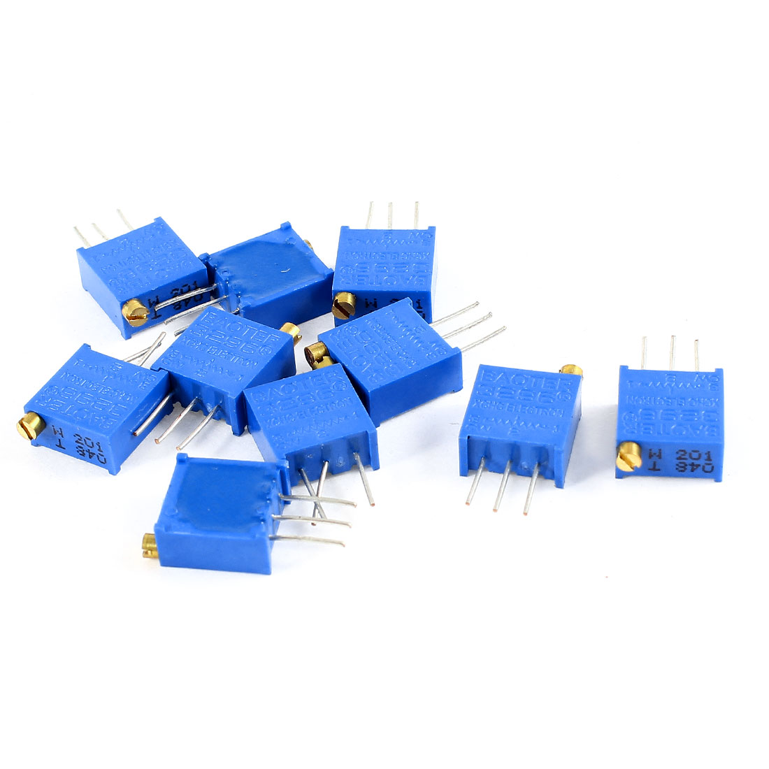 10Pcs 3296W-201 200 ohm 3 Pins High Precision Adjustable Resistor Trim Pot Potentiometer Trimmer