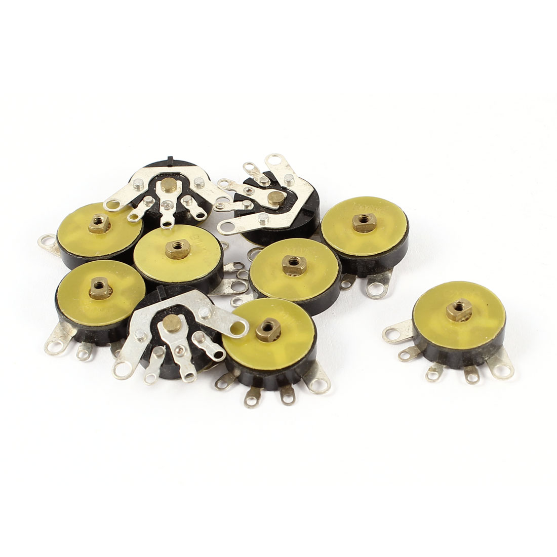 10 Pieces B103 13mm Dia 5 Terminal Yellow Adjustable Potentiometer 10K Ohm