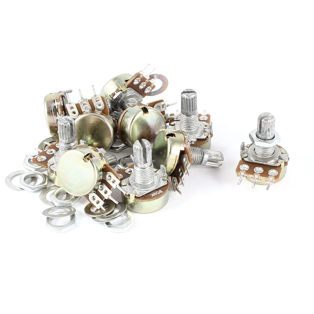 10 Pcs B503 50K Ohm 15mm Knurled Shaft Top Adjustment 3 Terminals Single Linear Rotary Taper Potentiometer Panel Pot