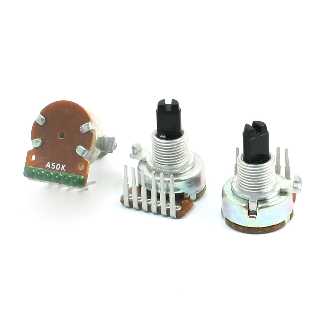 3pcs A Type 50K Ohm Top Adjustment 15mm Shaft Height Rotary Potentiometer