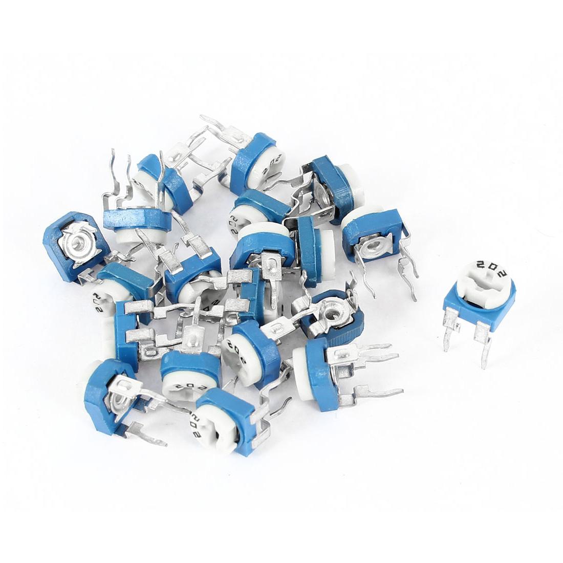 20Pcs 2K Ohm Horizontal Pot Variable Potentiometer Trimmer Resistors