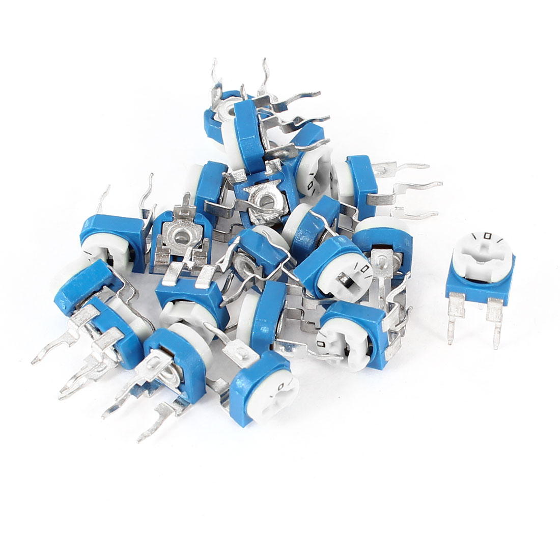 20Pcs Vertical Blue White Resistance Adjustable Resistor Potentiometer 100 Ohm
