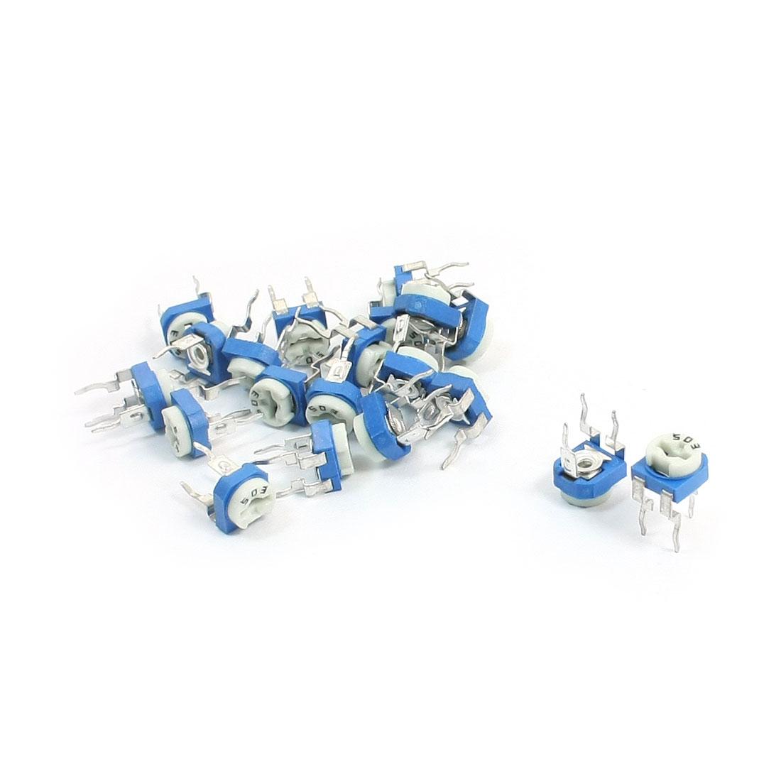 20Pcs Blue White Horizontal Resistance Variable Resistor Potentiometer 50K Ohm