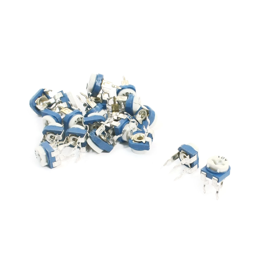 20pcs PCB Mounting 100K Ohm Horizontal Pot Variable Resistors Potentiometer