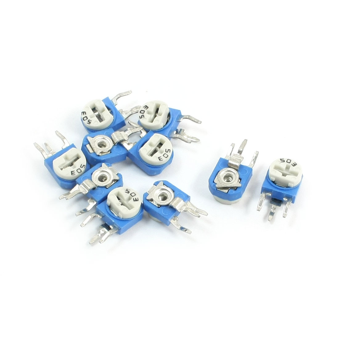 10pcs 50K Ohm Vertical Variable Resistor Trimmer Potentiometers Blue