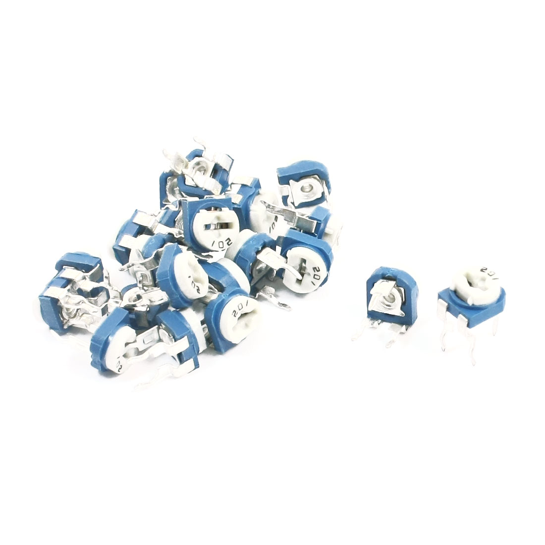 20Pcs Blue White Horizontal Trimmer Resistor Potentiometer 200 Ohm