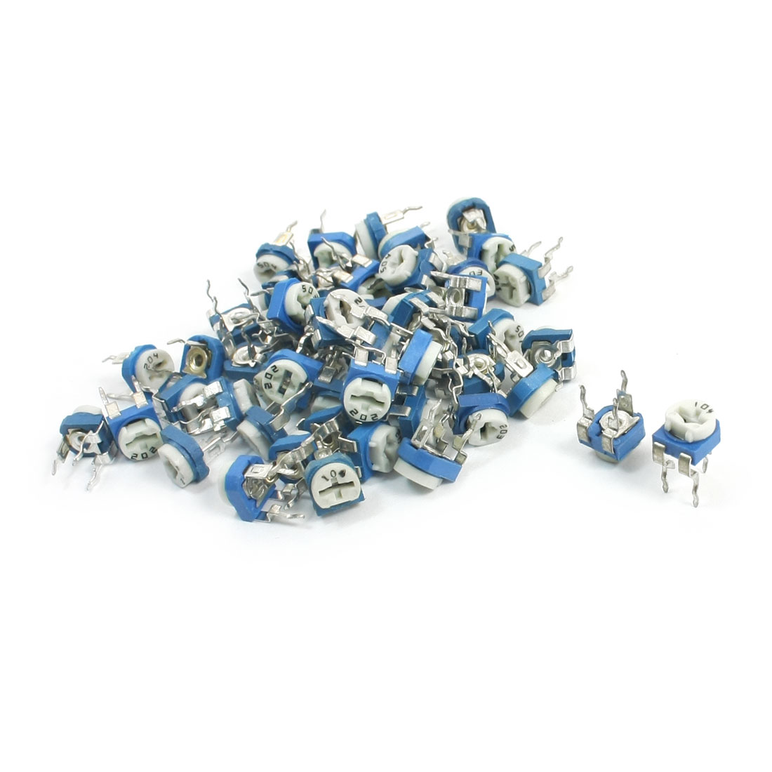 55Pcs Blue White Horizontal Trimmer Resistor Potentiometers 200Ohm-500K Ohm