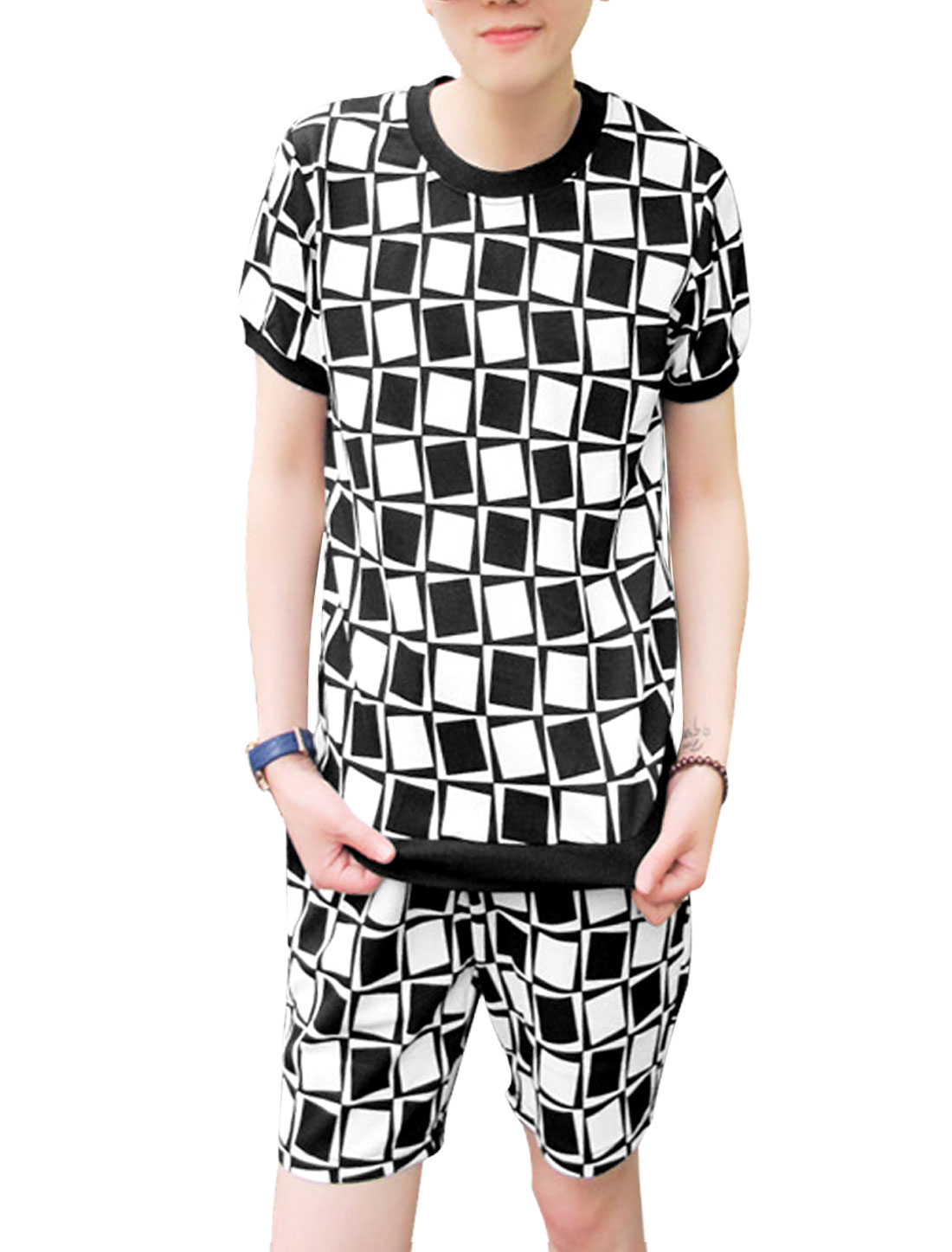 Men Square Pattern Top w Pockets Front Casual Shorts Black White S