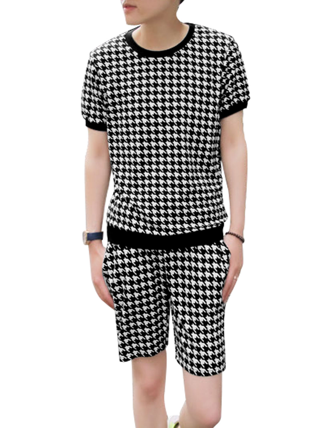 Men Houndstooth Pattern Top w Drawstring Chic Shorts Black White S